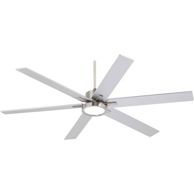 "70"" Casa Vieja Industrial Ceiling Fan with Light LED Remote Control Brushed Nickel for Living Room Kitchen Bedroom Family Dining"