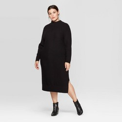 Women's Plus Size Long Sleeve Mock Turtleneck Midi Dress - Prologue™ Black