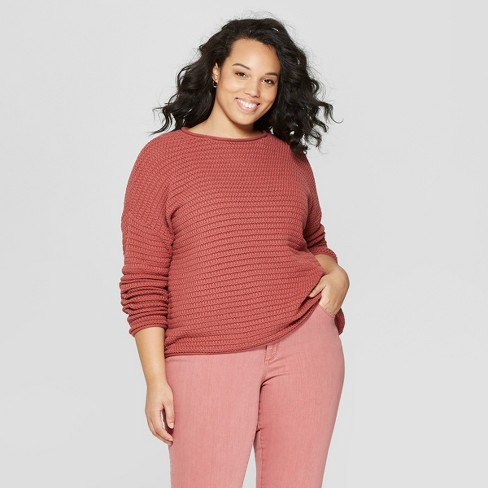 Women's Plus Size Long Sleeve Crew Neck Pullover Sweater - Universal Thread™ Pink X - image 1 of 3