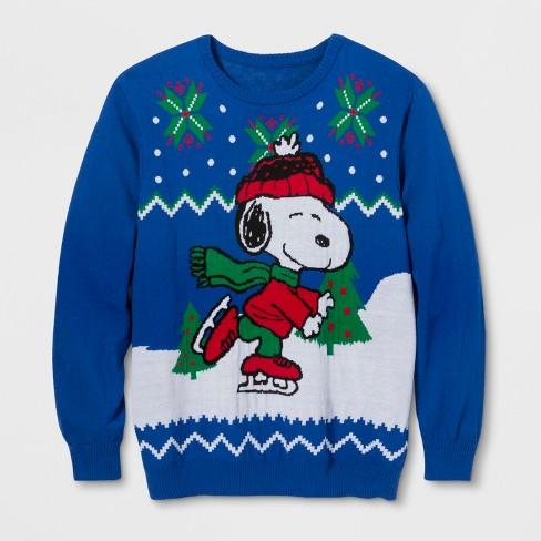 Men's Big & Tall Ugly Holiday Peanuts Sweater - Royal Blue - image 1 of 2
