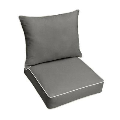 Sunbrella Outdoor Seat Cushion Gray/Ivory