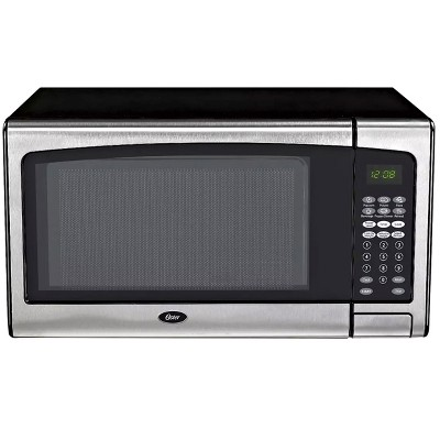 Oster 1.3 Cubic Ft. Countertop Microwave in Silver and Black