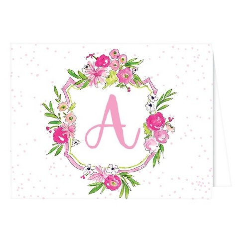 Folded Notes - Vintage Floral Crest Monogram - image 1 of 1