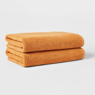 2pk XL Quick Dry Ribbed Bath Towel Set Gold - Threshold™