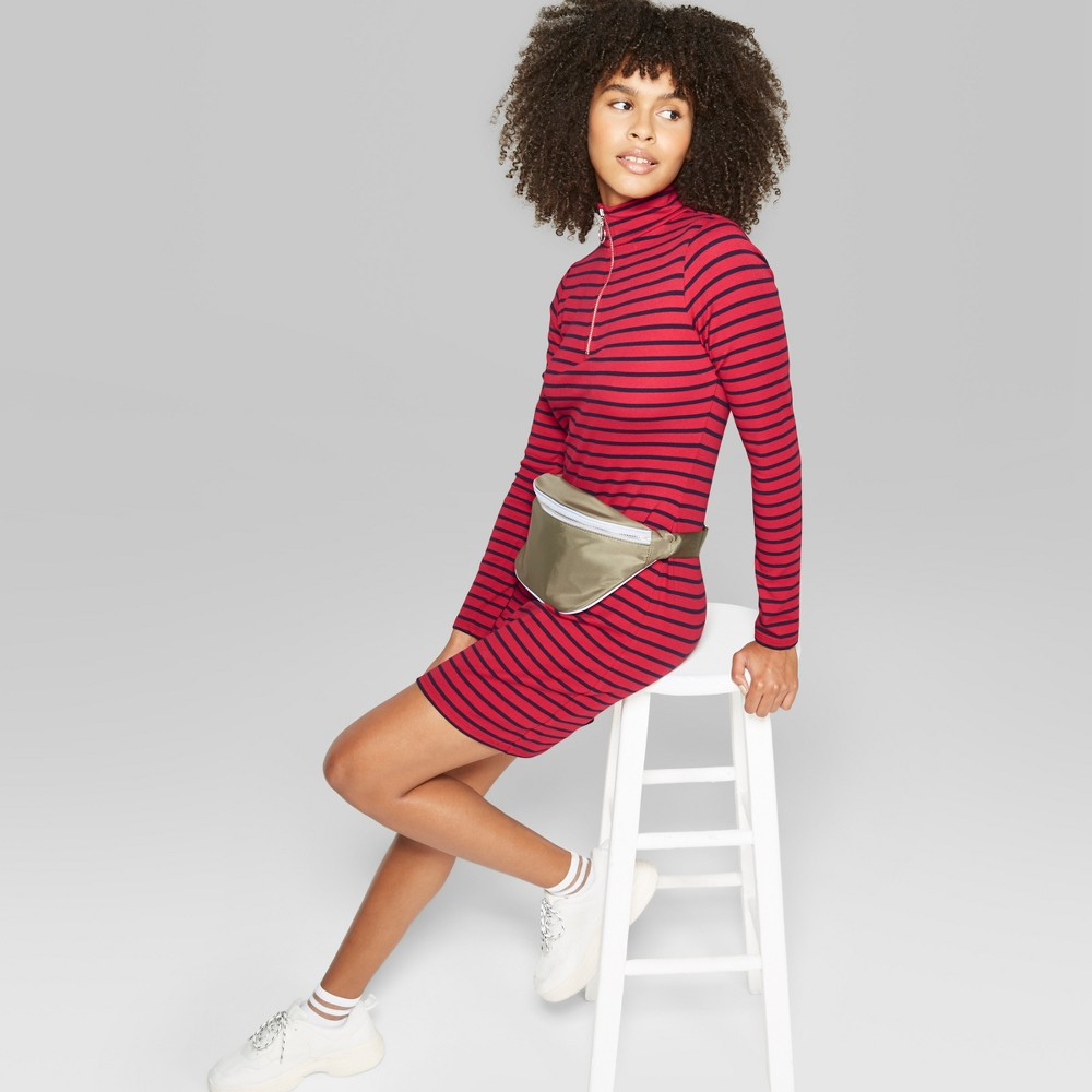 Women's Striped Mock Neck Dress - Wild Fable Navy/Red XXL, Blue/Red was $20.0 now $10.0 (50.0% off)