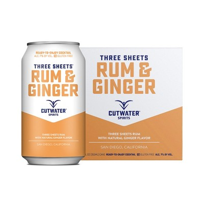 Cutwater Three Sheets Rum and Ginger Cocktail - 4pk/12 fl oz Cans