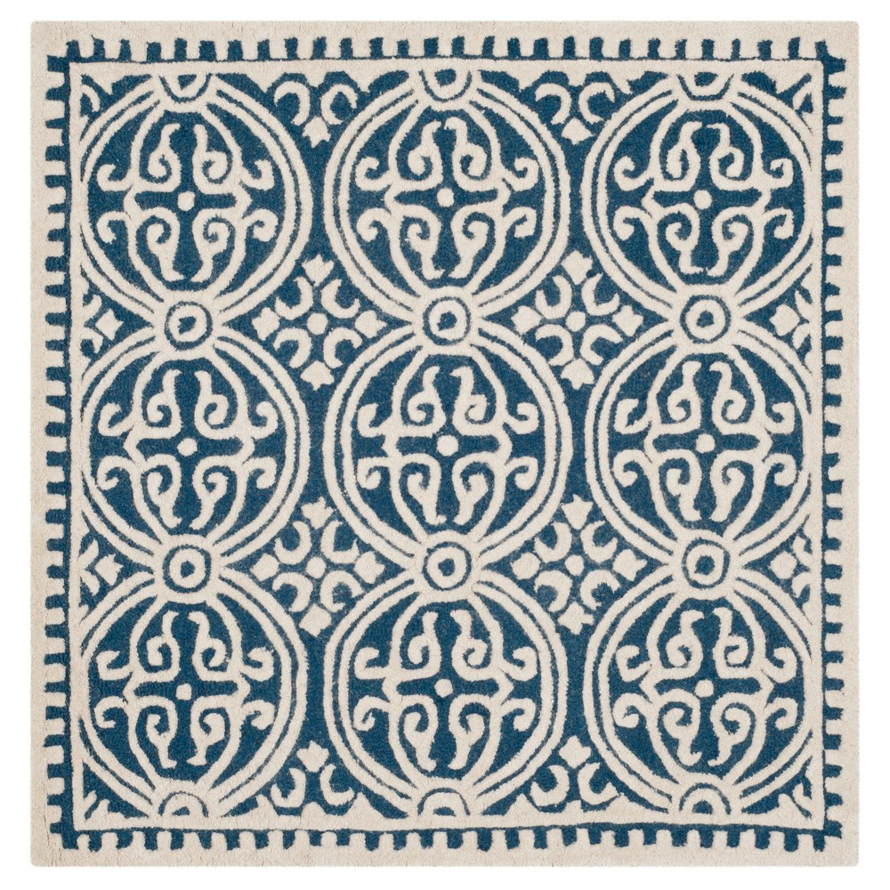 Navy/Ivory (Blue/Ivory) Geometric Tufted Square Area Rug 8'X8' - Safavieh