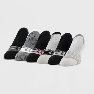 All Pro Women's 6pk Sport Liner Athletic Socks - White/Black/Gray 4-10