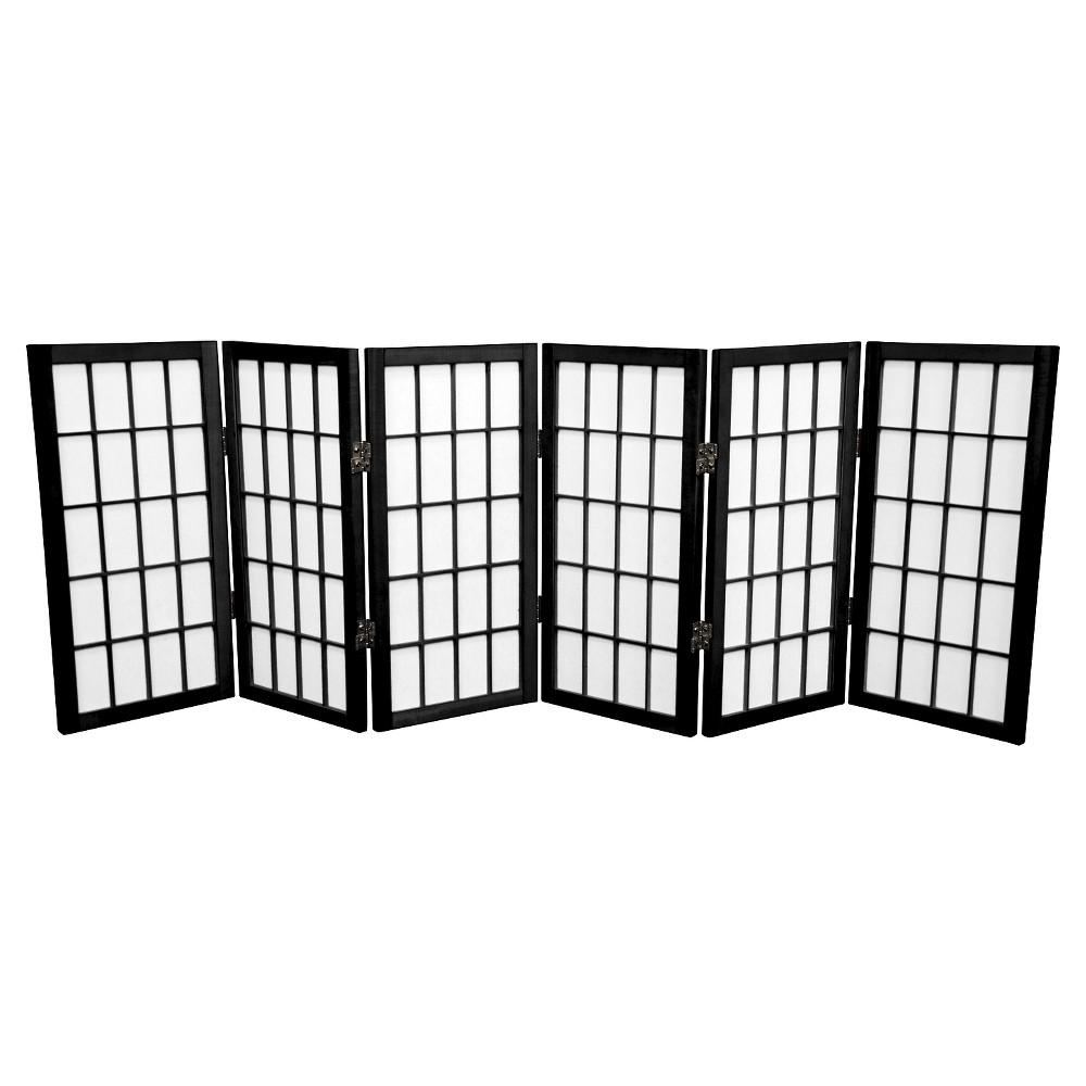 Image of 2 ft. Tall Desktop Window Pane Shoji Screen - Black (6 Panels) - Oriental Furniture