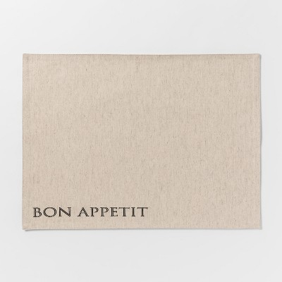 19 x14  Bon Appetit Fabric Placemat Beige - Threshold™