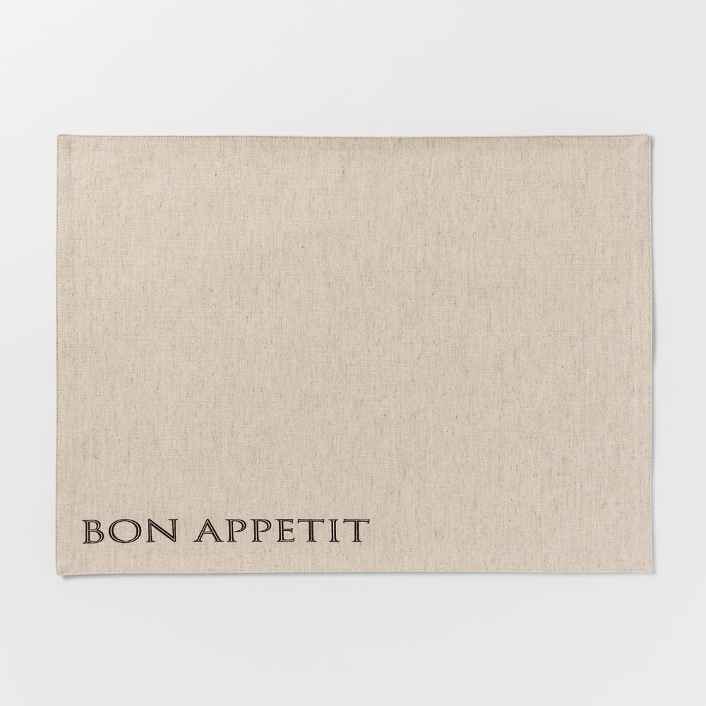 """Image of """"19""""""""x14"""""""" Bon Appetit Fabric Placemat Beige - Threshold"""""""