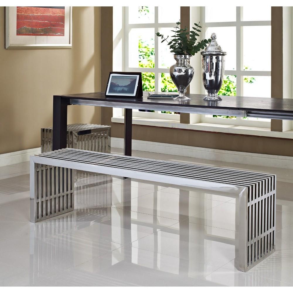 Outstanding Gridiron Benches Set Of 2 Silver Modway Creativecarmelina Interior Chair Design Creativecarmelinacom