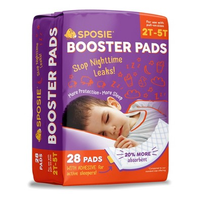Sposie Booster Pads with Adhesive For Overnight Diaper Leak Protection - 28ct