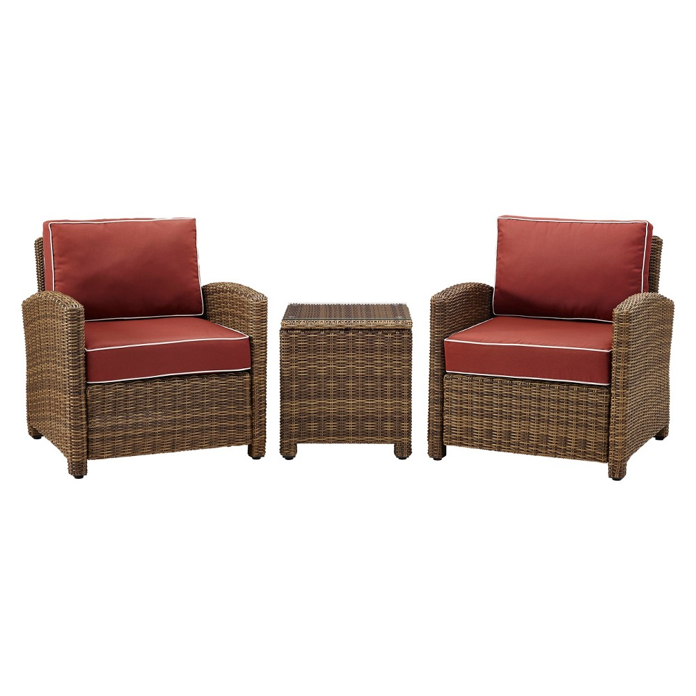 Bradenton 3pc All-Weather Wicker Patio Conversation Set - Sangria - Crosley
