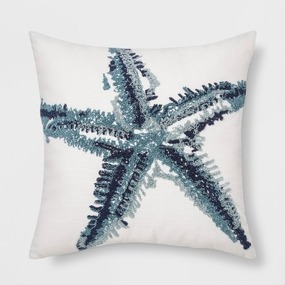 Embroidered Square Throw Pillow Starfish Blue - Threshold™