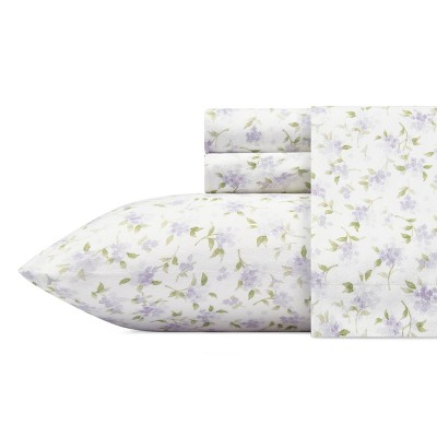Queen Printed Pattern Cotton Flannel Sheet Set Heather Gray - Laura Ashley
