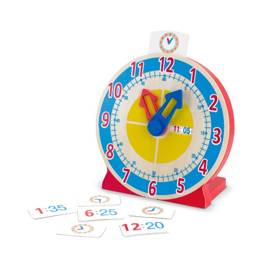 Melissa & Doug Turn & Tell Wooden Clock - Educational Toy With 12+ Reversible Time Cards image number null