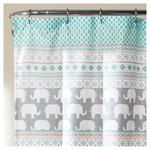 Elephant Stripe Shower Curtain Turquoise