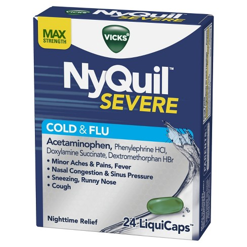 Vicks NyQuil Severe Cough, Cold & Flu Relief Liquicaps - Acetaminophen - 24ct - image 1 of 4