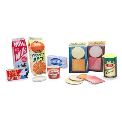 Melissa & Doug Fridge Groceries Play Food Cartons (8pc) - Toy Kitchen Accessories