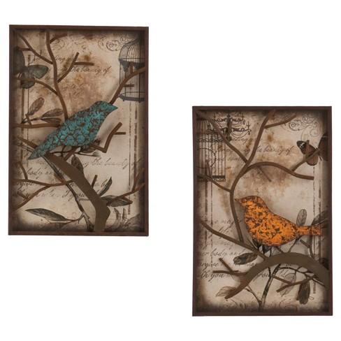 Bird Wall Panel Art Brown/Blue/Orange 2pk - Aiden Lane : Target