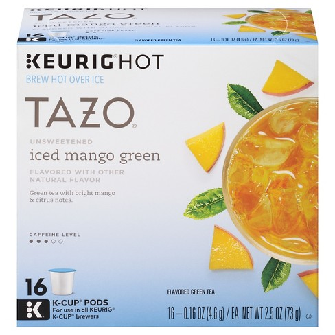 Tazo® Unsweetened Iced Mango Flavored Green Tea K-Cup Pods - 16ct - image 1 of 4
