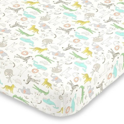 Carter's Colorful Zoo Animals Super Soft Mini Crib Fitted Sheet