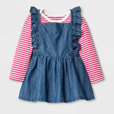 Baby Girls' Denim Top and Bottom Set - Cat & Jack™ Blue Newborn