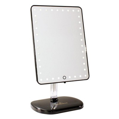Impressions Vanity Touch Pro LED Makeup Mirror with Bluetooth Audio+Speakerphone & USB Charger - Pro Black