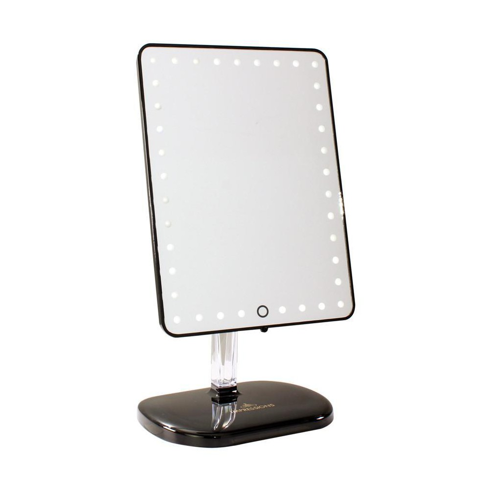 Image of Impressions Vanity Touch Pro LED Makeup Mirror with Bluetooth Audio+Speakerphone & USB Charger - Pro Black, Glossy Black