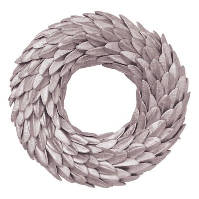 "Vickerman 20"" Rose Silver Aster Triangle Bean Wreath"