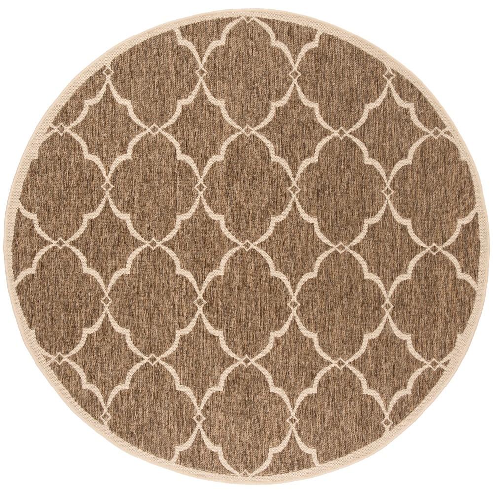 67 Round Geometric Loomed Area Rug Beige/Cream - Safavieh Coupons