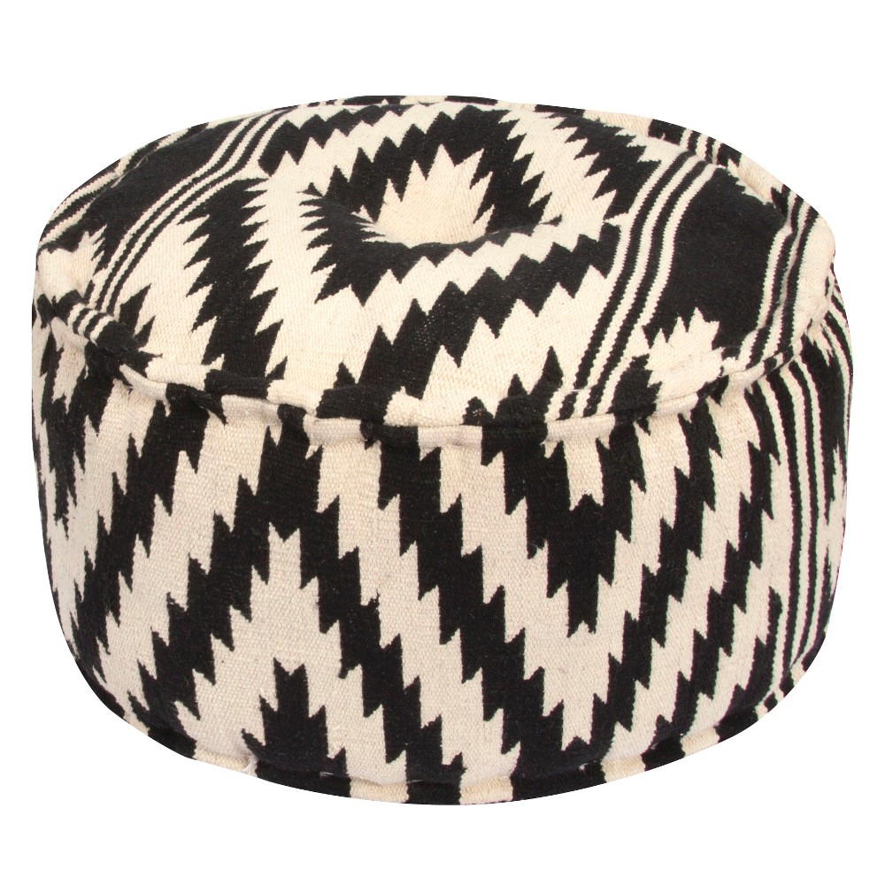 Image of Black Traditions Made Modern Pouf - Jaipur