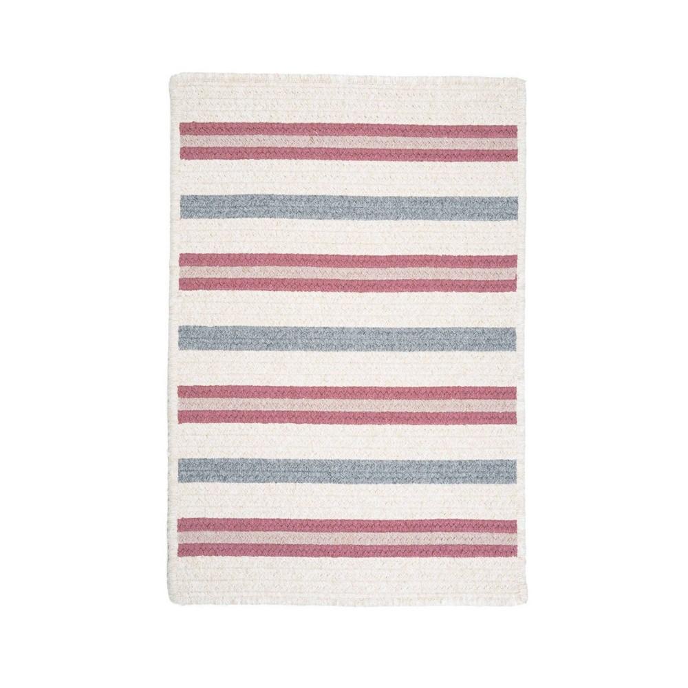 Uptown Stripe Braided Area Rug Pink