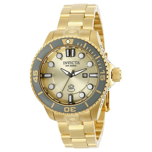 Women's Invicta 19822 Pro Diver Quartz 3 Hand Gold Dial Link Watch - Gold - image 1 of 1