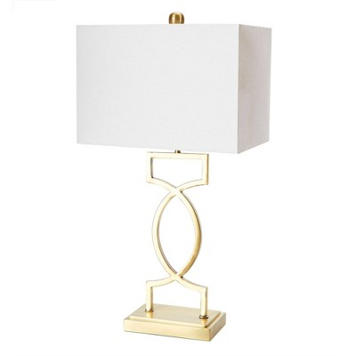 "24.5"" The Estelle Silverwood Table Lamp with Shade (Includes CFL Light Bulb) Gold - Decor Therapy"