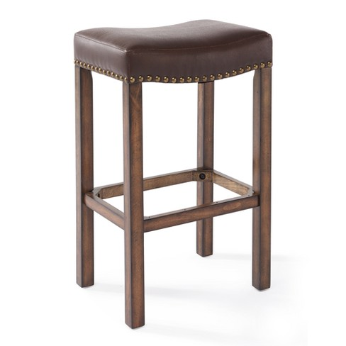 Terrific 26 Tudor Counter Height Wood Backless Barstool In Chestnut Finish And Kahlua Faux Leather Armen Living Caraccident5 Cool Chair Designs And Ideas Caraccident5Info
