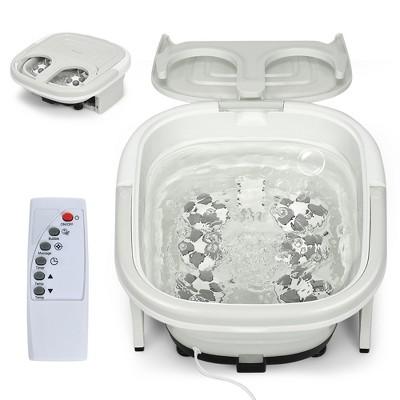 Costway Foldable Foot Spa Bath Motorized Massager w/ Bubble Red Light Timer Heat Gray