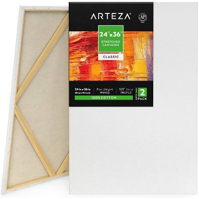 "Arteza Stretched Canvas, 24"" x 36"", 2 Pack"