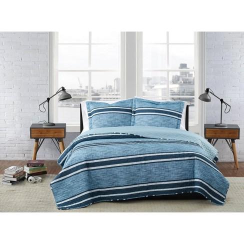 King 3pc Mitchell Stripe Quilt Set Multi/Blue - London Fog - image 1 of 4