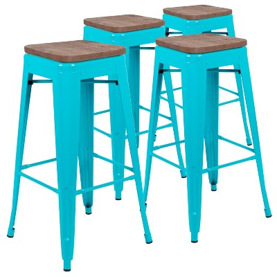 """Flash Furniture 30"""" High Metal Indoor Bar Stool with Wood Seat - Stackable Set of 4"""