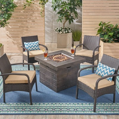 Cordoba 5pc Wicker and Light Weight Concrete Fire Pit Set - Christopher Knight Home