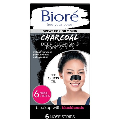 Biore Charcoal Deep Cleansing Pore Strips Pore - 6ct - image 1 of 4