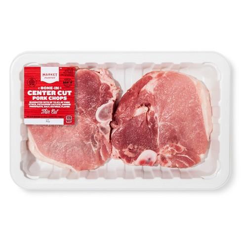 Bone-in Center Cut Pork Chops - 1-2.06lbs - priced per lb - Market Pantry™ - image 1 of 1