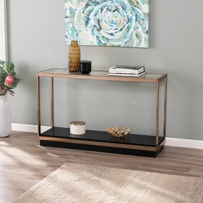 Lexing Glass Top Console Table Champagne - Aiden Lane