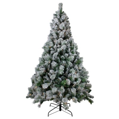Northlight 7.5' Pre-Lit Flocked Somerset Spruce Artificial Christmas Tree - Clear Lights