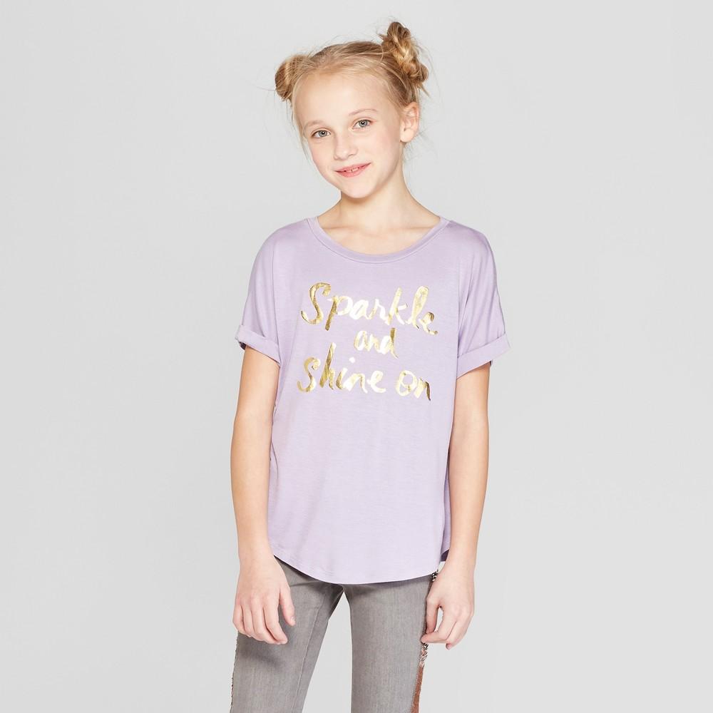 Girls' Rolled Short Sleeve Graphic T-Shirt - art class Purple L