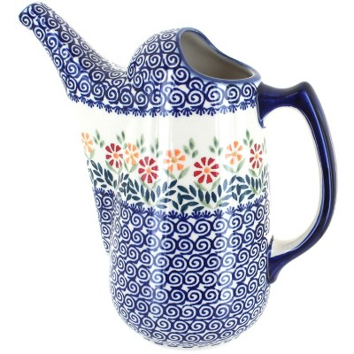 Blue Rose Polish Pottery Garden Bouquet Watering Can