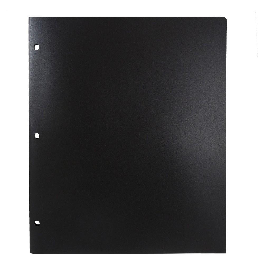 Jam Paper, Heavy Duty 3 Hole Punch Folders, 6pk - Black