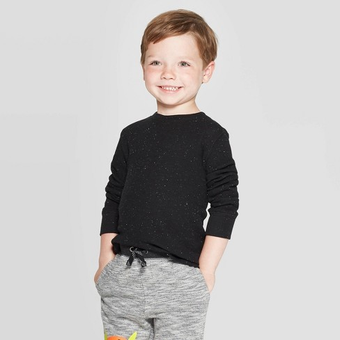 Toddler Boys' Nep Thermal Long Sleeve T-Shirt - Cat & Jack™ Black - image 1 of 3